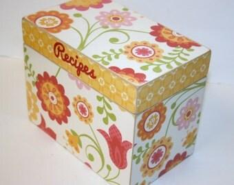 Recipe box, Yellow Coral and Orange Recipe Box, 4x6 Recipe Box, Floral Box, Handmade 4 x 6 Wooden Recipe Box, Wedding Guest Book Box