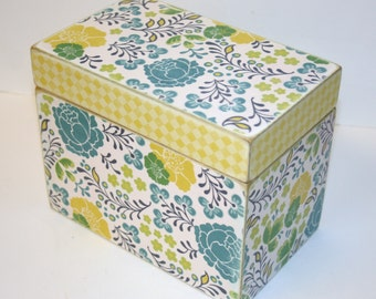 Recipe Box, Teal and Yellow Recipe Box, Navy Blue and Green Box, 4x6 Recipe Box, Floral Recipe Box, Handmade Box, Wedding Guest Book Box