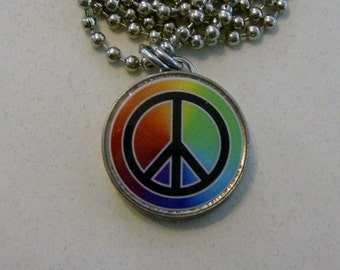 "Altered Art Rainbow PEACE SIGN Genuine U.S. Nickel Pendant with 24"" Chain Necklace"