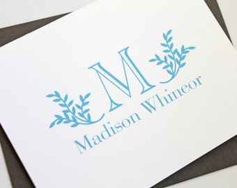 Folded Monogram Stationery // Personalized Stationary // Monogram Thank you cards // Personalized Note Cards, CM023