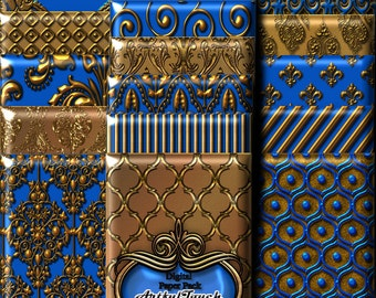 Gold Digital Paper, Digital Scrapbook Paper Pack, Royal Blue Gold Damask, Metallic Gold Digital Printable Paper Background, INSTANT DOWNLOAD