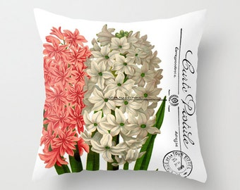 Throw Pillow Cover - Hyacinth Pink White Flower on Vintage Postcard - 16x16, 18x18, 20x20 - Pillow case Original Design Home Décor by Adidit