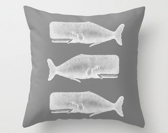 Throw Pillow Cover Three Whales - Grey White - 16x16, 18x18, 20x20 - Nursery Bedroom Living room Original Design Home Décor by Adidit