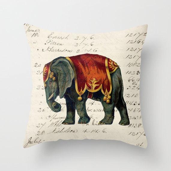 Throw Pillow Cover - Circus Elephant - 16x16, 18x18, 20x20 - Pillow case Original Design Home Décor by Adidit