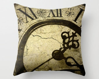 Pillow Cover, Steampunk Clock Photo Pillow, Steampunk Throw Pillow, Goth Clock pillow, Living room decor, bedroom Decor, 16x16 18x18 20x20