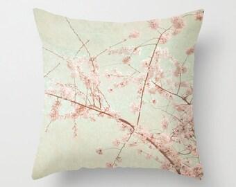 Pillow Cover, Cherry Blossom Pillow, Pink Mint Pillow, Pink Flower Photo Pillow, living room decor, Bedroom Decor, 16x16 18x18 20x20 Pillow