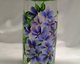 Hand painted purple flower vase with dragonfly, candle holder