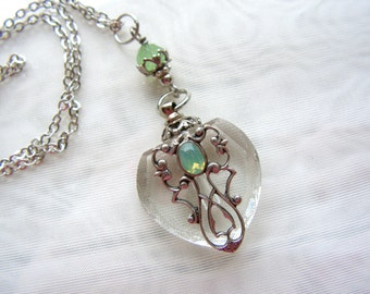 Vintage Inspired Silver Filigree And Opal Rhinestone Heart Perfume Bottle Necklace