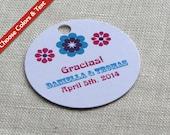 Mexico Floral Wedding Favor Tag - Mexican Flower Folk - Bridal Baby Shower Gift Tag - Custom Colors - Custom Wording