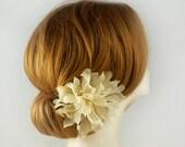 Pure Silk Wedding Hair Flower, Gold Wedding Hair Piece, Champagne Bridal Hair Flower, Fall Wedding Hair Accessory, Bridal Hair Accessory