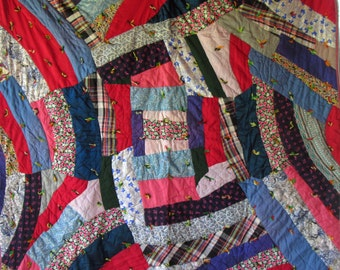 Stunning Crazy IMPROVISATIONAL Antique VINTAGE Quilt - PERFECT Shape - Fabulous