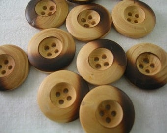 "Wood Button 7/8"" (22mm) in diameter -Large size Lot of 6"