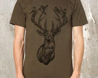 Deer with Birds in Antlers - Men's Screen Printed American Apparel T-Shirt