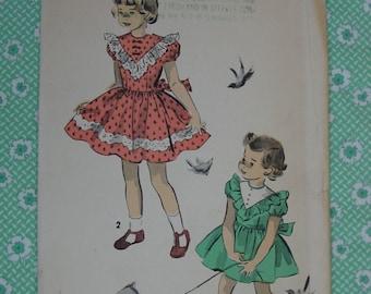 Vintage Pattern 1940's Advance No.4671 Girls Dress, Size 3, Uncut