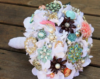 Brooch Bouquet vintage lace buttons cameo with FREE TOSS BRIDESMAID bouquet