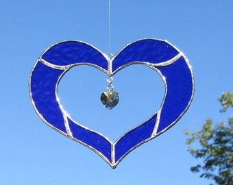 Stained glass Heart sun catcher with Swarovsky crystal