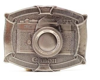 Vintage Metal Camera Buckle | Canon F-1 Camera Belt Buckle by Lewis Buckles of Chicago USA Seller | Metal Vintage