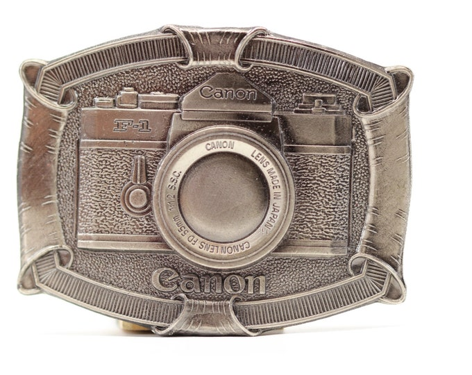 Vintage Metal Camera Buckle | Canon F-1 Camera Belt Buckle by Lewis Buckles of Chicago USA Seller | Metal Vintage BB13