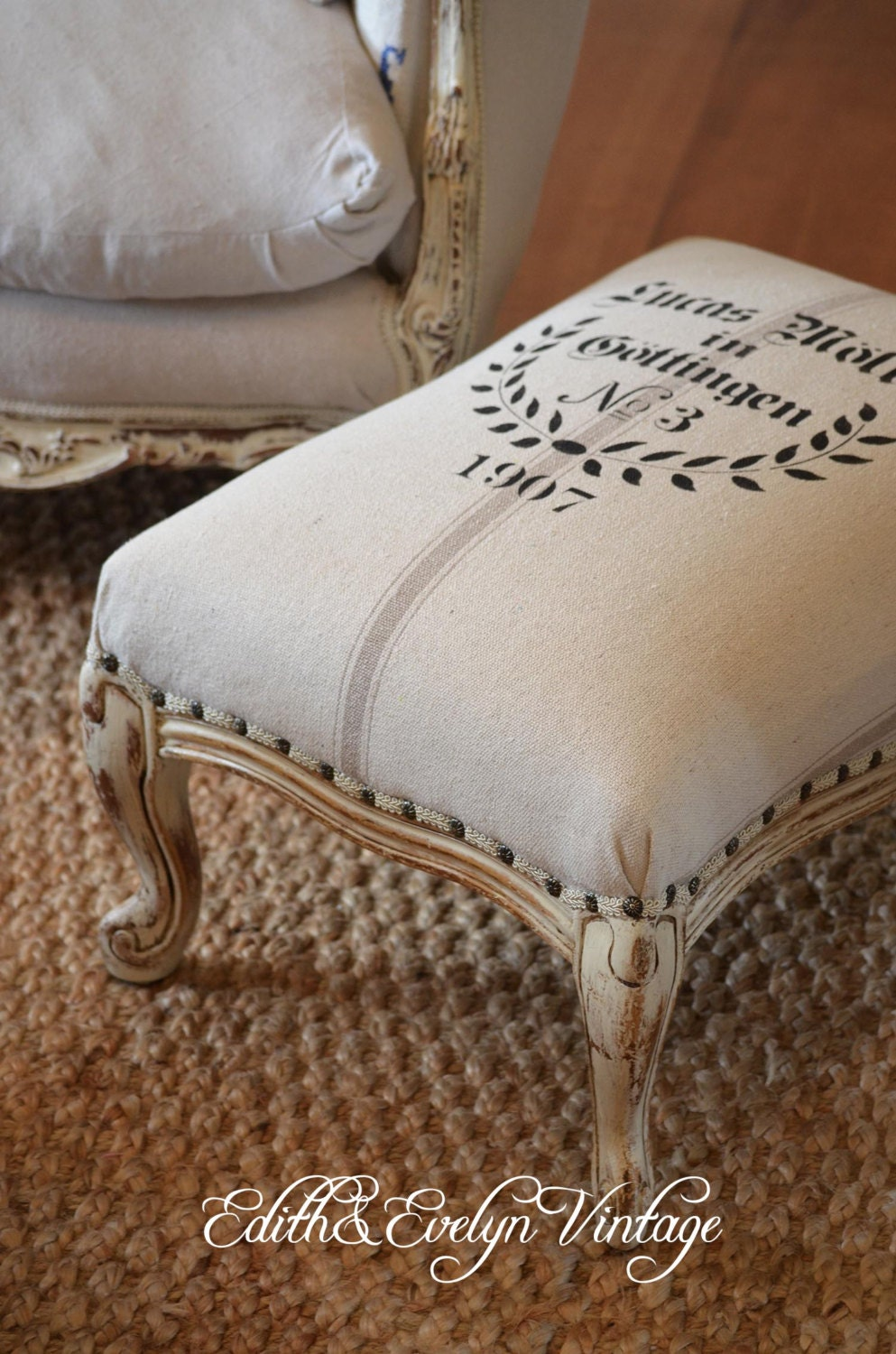 Vintage French Provincial Foot Stool European Grain Sack