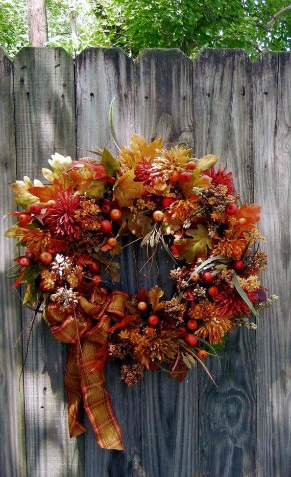Fall Wreath Front Door Wreath Fall Floral Outdoor Wreath
