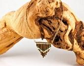 Billy Sky Jewelry -Boho- Beaded Bronze Triple Chevron Apache Fringe Necklace