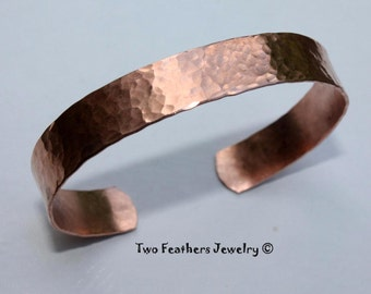 Hammered Copper Cuff Bracelet - Hammered Cuff - Copper Bracelet - Medium Width - 7th Anniversary Gift - Solid Copper - Two Feathers