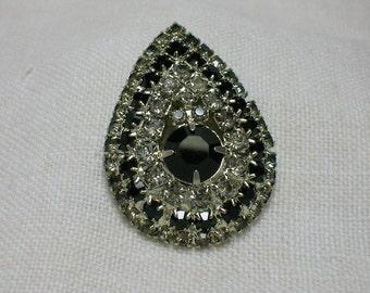Rhinestone Brooch, Black & White. Teardrop Pear Shape, 1950s does 1920s