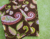 Bohemian Paisley Cloth Napkins - Set of Four -  Brown and Pink Paisley Napkins by Pillowscape Designs