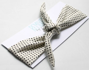 White with Black Polka Dots Head Scarf - Headband