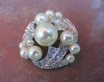Vintage Faux Pearl and Rhinestone Brooch/Pin-Bride-Bridal-Wedding