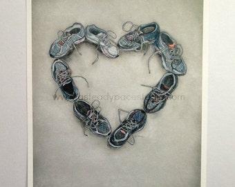 Running Art Print - 8 x 10 Reproduction of Original 'Run Love'  Running Shoe Heart Drawing - Gift Idea for Runner, wedding gift, home decor