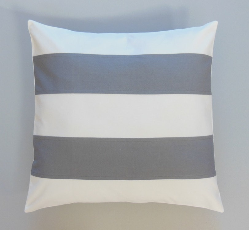 Decorative Pillows With Stripes : Gray Striped Pillows Decorative Throw Pillows by JacqueAnnDecor