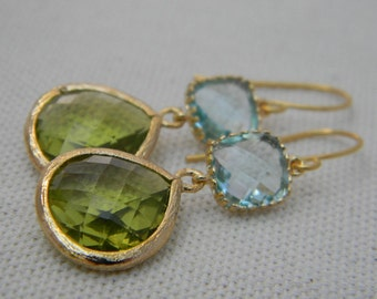 Peridot and Aquamarine Dangle Earrings Trimmed in Gold Bride- Drop Earrings-Bridal-Wedding-Bridesmaid Gift
