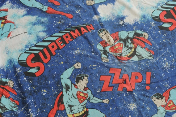 vintage 70s Superman bed sheet bedding twin fitted 1978 Zzap DC Comics