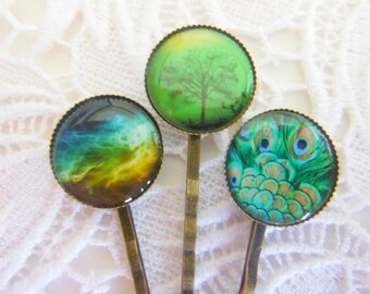 Green And Blue And Yellow Clips Bobby Pins