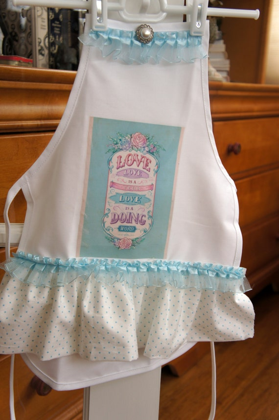 Little Girls *Love* Apron - Blue and White - Polka Dot Ruffle