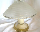 Vintage Tin Ceiling Light with Frosted Cut Glass Globe
