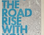 Los Angeles / May The Road Rise With You/ Letterpress Print on Antique Atlas Page