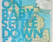 Michigan Gratetful Dead Lyrics Letterpress Print on an Antique Atlas Page