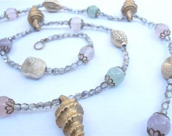 Vintage Pastel Gemstone Necklace Precious Gemstone Necklace Aventurine Necklace Amethyst Necklace Seashell Necklace Aurora Borealis Necklace