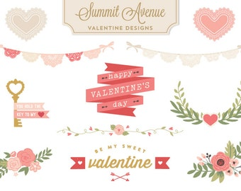 PNG FILES  Valentine  Design Bundle florals & Bunting - for personal or photographer use