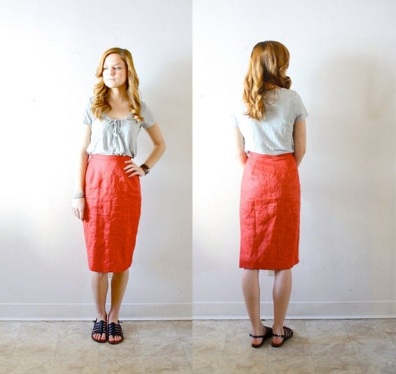 50% OFF Vintage red high waisted skirt extra small form fit body con