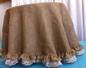 Custom Made 120 inches Round Burlap Tablecloth with Ruffle and White lace