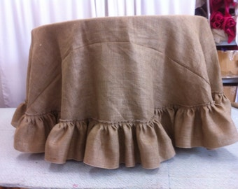 Custom Made 120 inches Round Burlap Tablecloth with  Large ruffle on the bottom reserved listing of 2