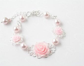 Pink rose bracelet - Shabby chic bracelet - flower bracelet -Swarovski pearls- pink wedding-bridesmaid bracelet -rose jewelry- pink bracelet