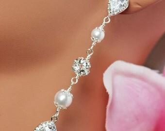 Crystal Teardrop Wedding Earrings, Cubic Zirconia Bridal Earrings, Rhinestone Wedding Jewelry, Pearl Drop Bridal Jewelry
