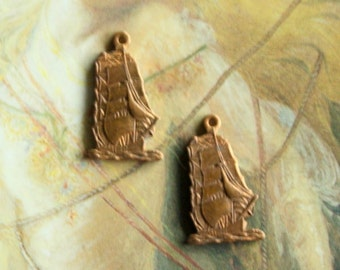 2 Vintage Old Brass Nautical Clipper Ship Charms