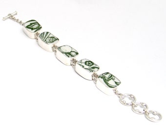 Broken China Jewelry Green and White Floral Syracuse China Sterling Bracelet