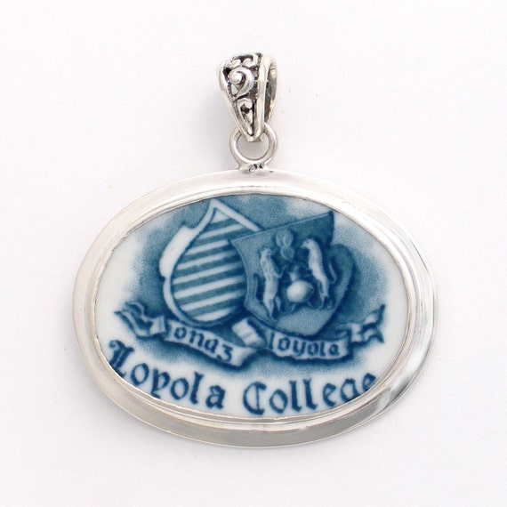 Broken China Jewelry Antique Syracuse Loyola College Blue White Sterling Pendant