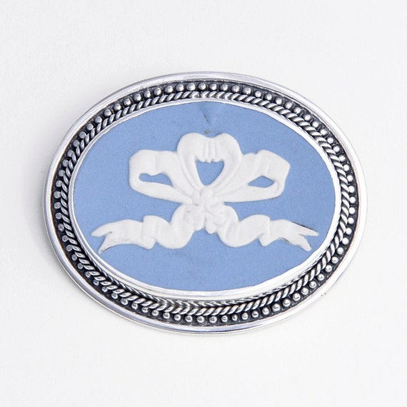 Broken China Jewelry Wedgwood Blue White Jasperware Sterling Pin/Brooch